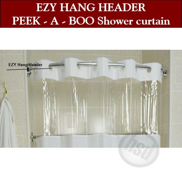 72 w x 72 l regular hang header rujan peek a boo standard hang shower curtain solid color w clear heavy 10 ga vinyl window top and bottom