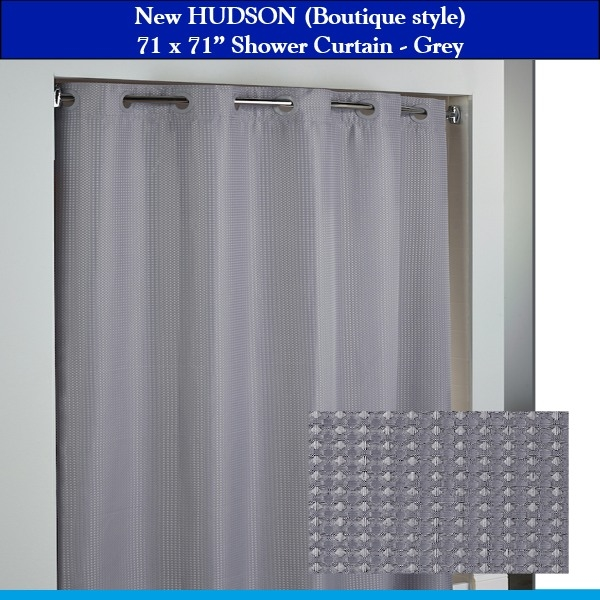 71 x 77 hookless hbh52hud19sl77 hudson grey boutique shower curtain with matching flex on rings it s a snap polyester liner with magnets low