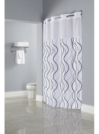 hookless waves sheer polyester hotel casino shower curtain with window 71x77 white grey black case pack 12 low as 33 13 ea
