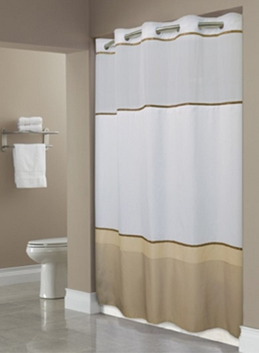 hbh40wel05sl74 hookless wellington taupe shower curtain 100 polyester shower curtain with snap liner 71 x74 case of 12 low as 29 35 each