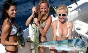 Three bikini fishing babes.