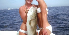 Two hot blonde women fishing and showing off their catch!