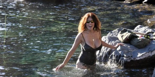 Woman with big boobs fly fishing