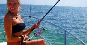 blonde bikini girl fishing