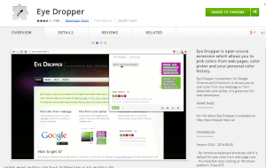 Chrome extensions for selecting colors, Eyedropper