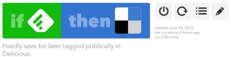 IFTTT Feedly Recipe