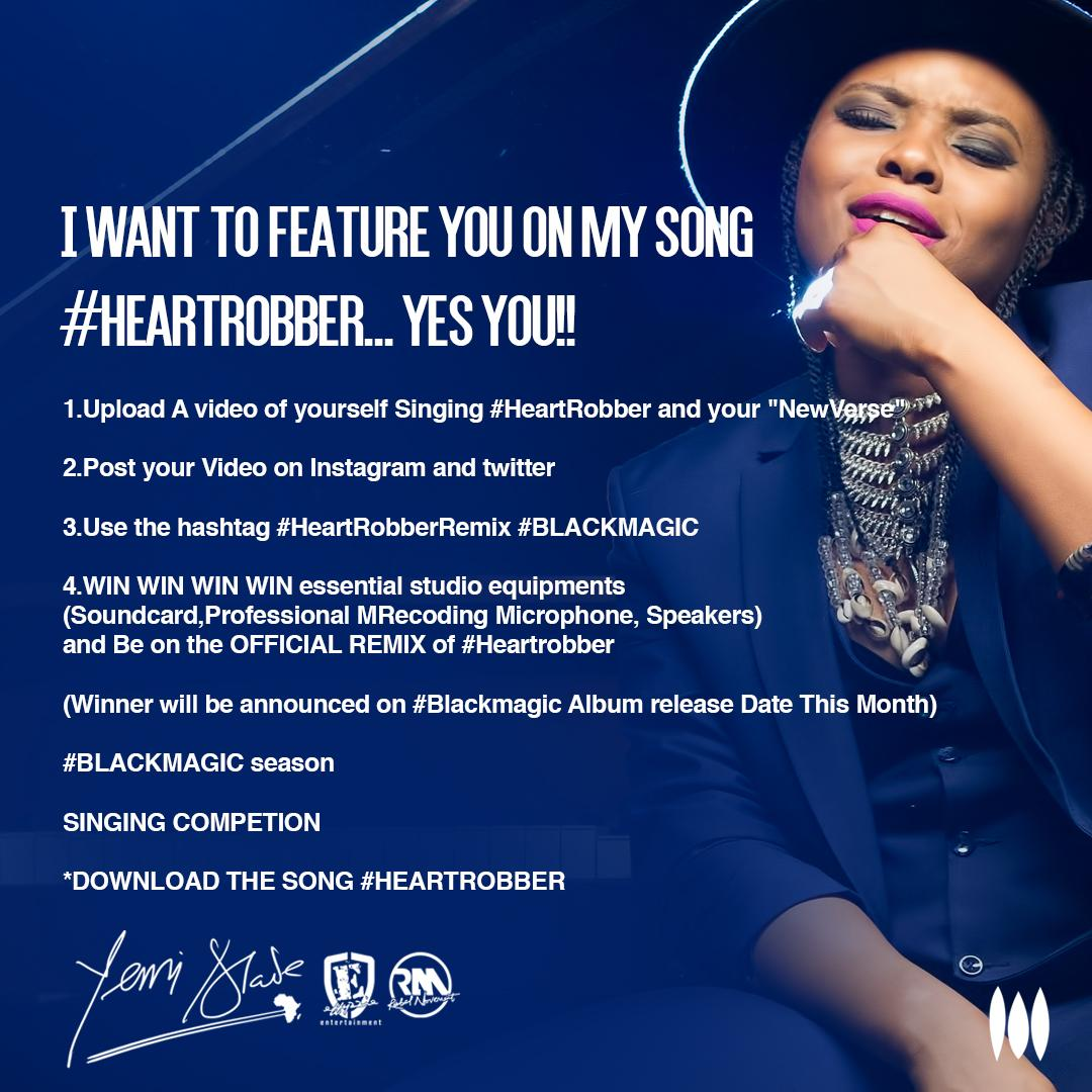 Win Studio Equipment and a feature on Yemi Alade's Heart Robber