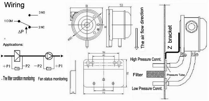Interruptor de flujo de aire diferencial interruptor de