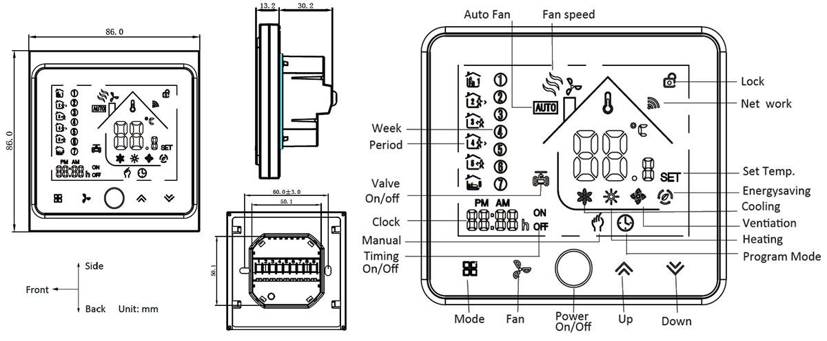 Digital Touch Screen Alexa Remote Control FCU Air
