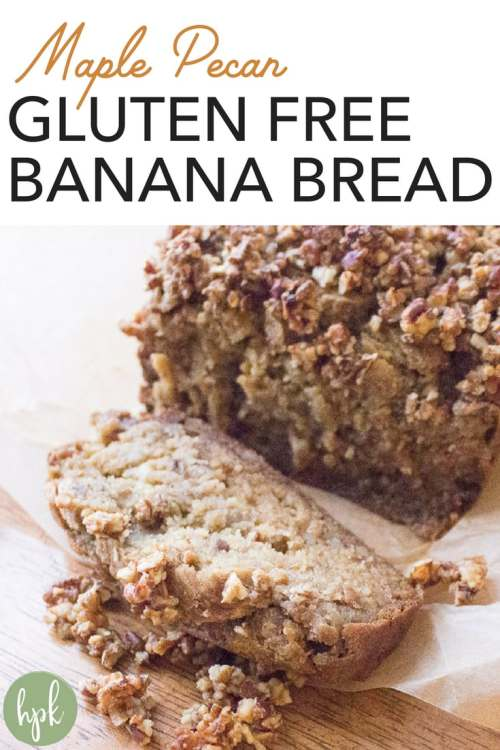 This Maple Pecan Gluten Free Banana Bread recipe has no sugar, getting it's sweetness from bananas and maple syrup. It's super moist and a healthy alternative to regular banana bread. #glutenfree #bananabread #pecan #healthy #nosugar