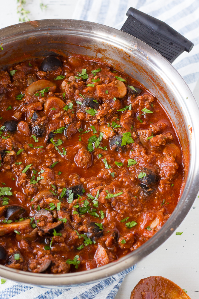 easy meat sauce in a pot