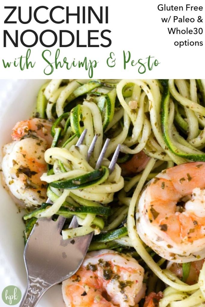 pin for zucchini noodles with pesto