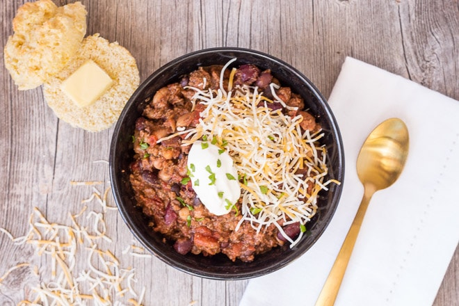 Gluten Free Slow Cooker Three Bean Chili