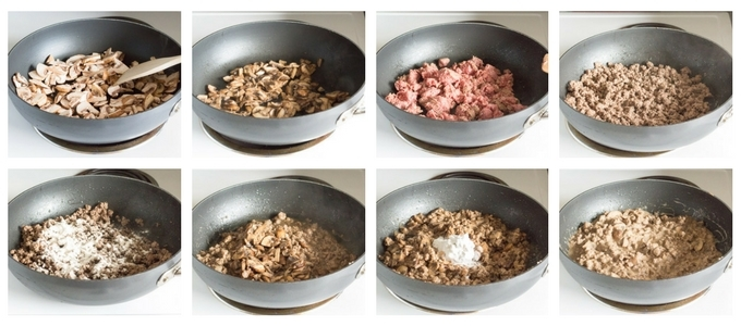 process shot of cooking paleo ground beef stroganoff in a pan on the oven.