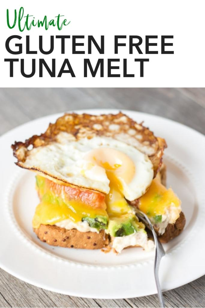 This Ultimate Gluten Free Tuna Melt is an easy dinner recipe when you need something quickly. Pile all but one of the ingredients open face style on a piece of bread and pop it in the oven, then put a fried egg on top when it's all done. It might not be super healthy, but it is super delicious. Click to get to the recipe! #glutenfree #dinner