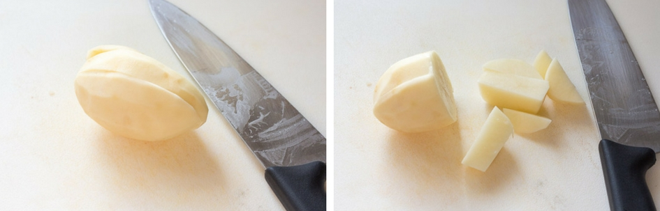 two process shots of cutting a potato on a white cutting board