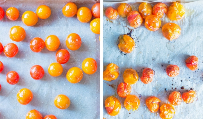 process shot of roasting cherry tomatoes - unroasted on left, roasted on right