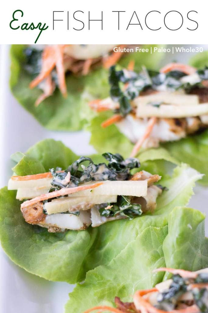 Easy fish tacos that are also Whole30 compliant? Not too good to be true. These are simple to put together, making them great for a weeknight dinner. Cook them up quickly on the stove and add your favorite toppings. #whole30 #glutenfree #paleo #recipe #dinner #fish