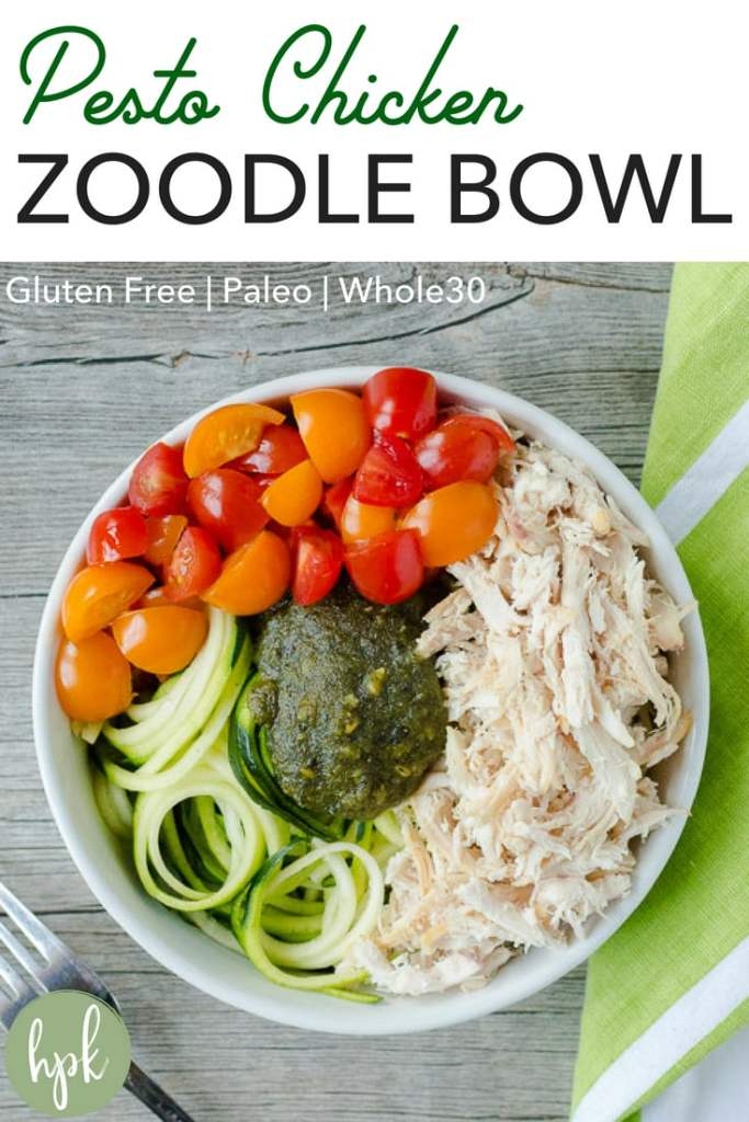 Need a simple weekday lunch or dinner option that is easy and healthy? This Pesto Chicken Zoodle Bowl recipe, made with zucchini noodles, is gluten free and Whole30 when made with compliant pesto. #healthy #lunch #dinner #lowcarb #glutenfree
