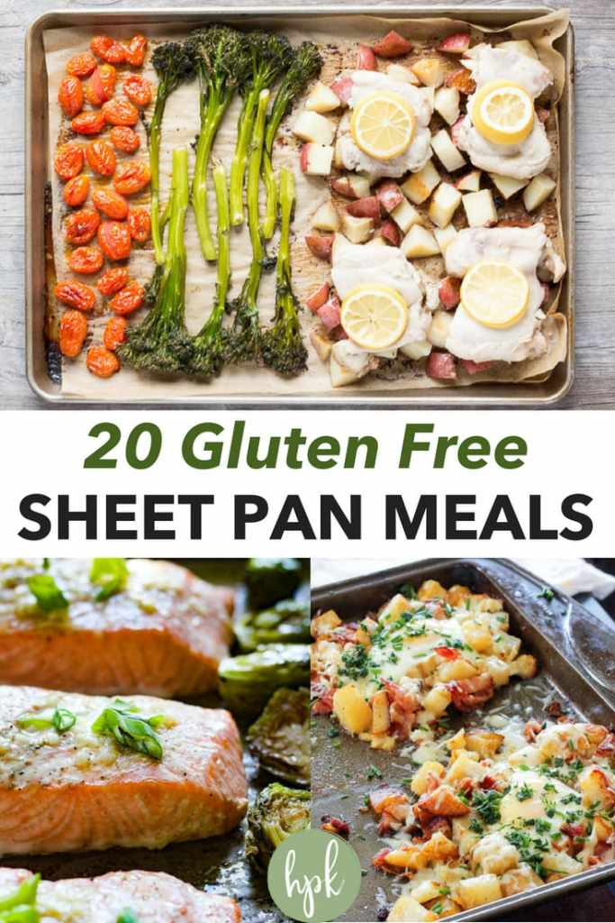 Looking for some gluten free sheet pan dinners but need some suggestions? I've got you covered. Below are 20 sheet pan meals, using a variety of ingredients. There's chicken, sausage, salmon, and some fun breakfast ones too! Check them out and pick one (or several) to add to your weekly meals. #sheetpan #glutenfree #chicken #sausage #veggies #dinner