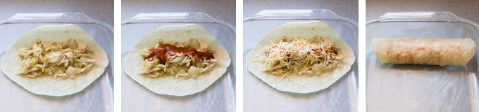 gluten free tortilla being filled with enchilada filling, then sauce, then cheese then rolled in a 9x13 dish