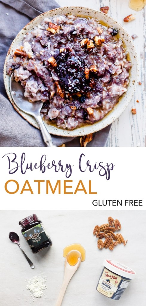 This Blueberry Crisp Oatmeal is a dressed up and gluten free version of classic oatmeal. Made easy by using oatmeal you cook in the microwave, it gets scooped into a bowl then you crumble a bunch of goodies on top. If you've ever wanted to have dessert for breakfast, this is your chance. #glutenfree #oatmeal