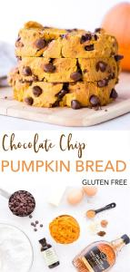 pin for gluten free chocolate chip pumpkin bread