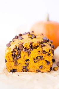 straight on shot of gluten free chocolate chip pumpkin bread that's been cut into