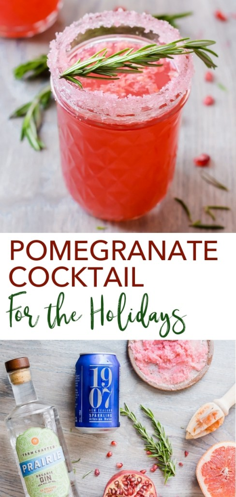 This Pomegranate Cocktail for the Holidays has just four ingredients - pomegranate juice, grapefruit juice, sparkling water, and gin. It has a fun sugared rim and a rosemary for garnish to put a little extra cheer on your glasses. Perfect for Christmas, New Years, or even Valentine's Day. #glutenfree #cocktail #holiday
