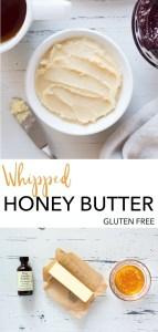 Wondering how to make Whipped Honey Butter? Look no further! This recipe is an easy spread for all your gluten free breakfast goods - cornbread, rolls, scones, you name it. It also works great at a holiday dinner table. Click to get to the recipe! #glutenfree #butter #breakfast