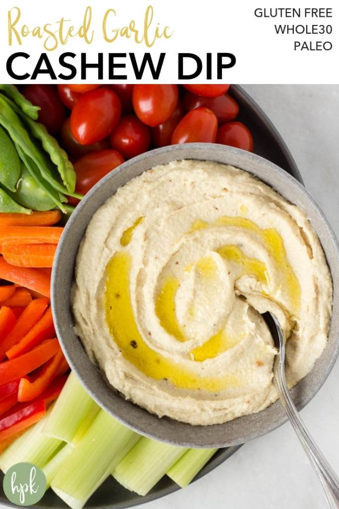 This Roasted Garlic Cashew Dip recipe is paleo and vegan, and packs a ton of flavor. It's a healthy, dairy free appetizer that is both adult- and kid-approved! #paleo #dip