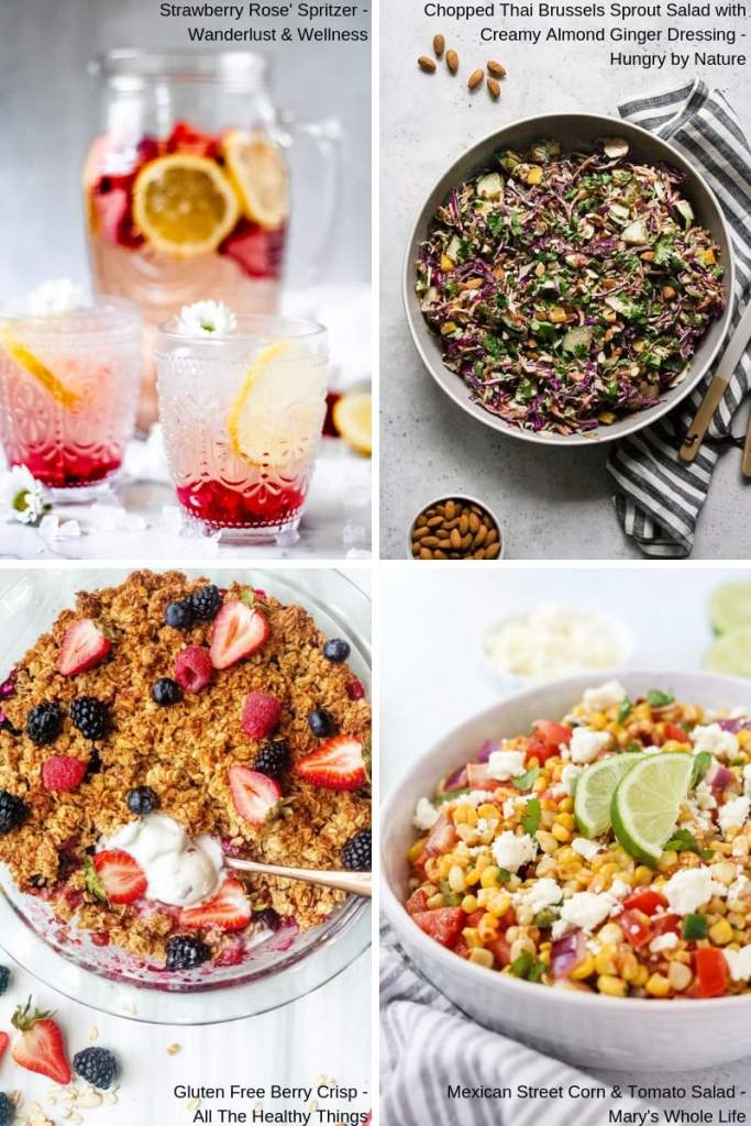collage of gluten free recipes for summer