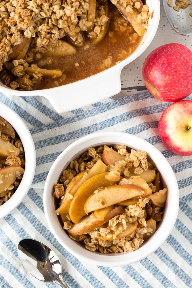 gluten free apple crisp in a dish