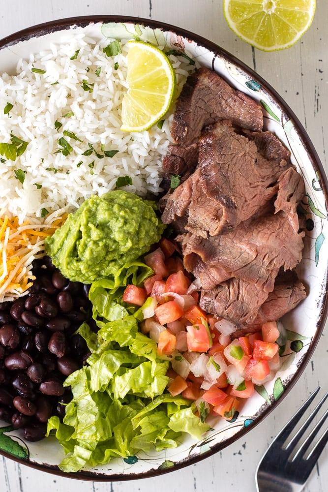 zoomed in shot of steak burrito bowl