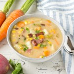 potato corn chowder in a bowl