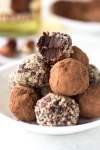 hazelnut rum truffles on a plate