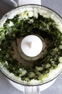 chopped spinach and onion in food processor