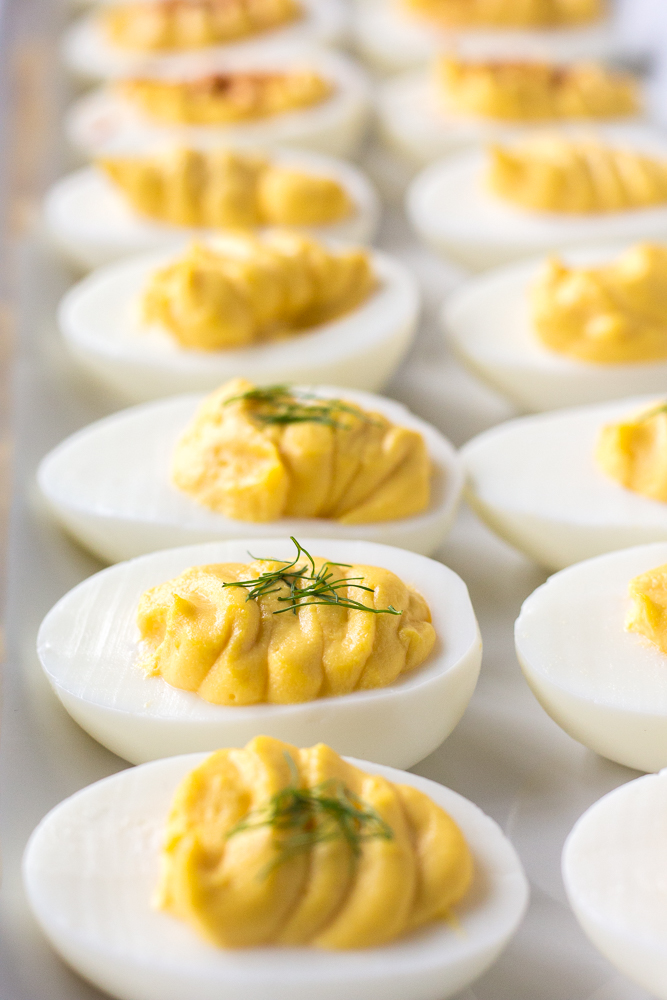 side shot of two rows of whole30 deviled eggs