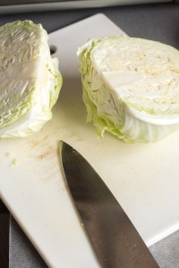 a head of green cabbage sliced in two