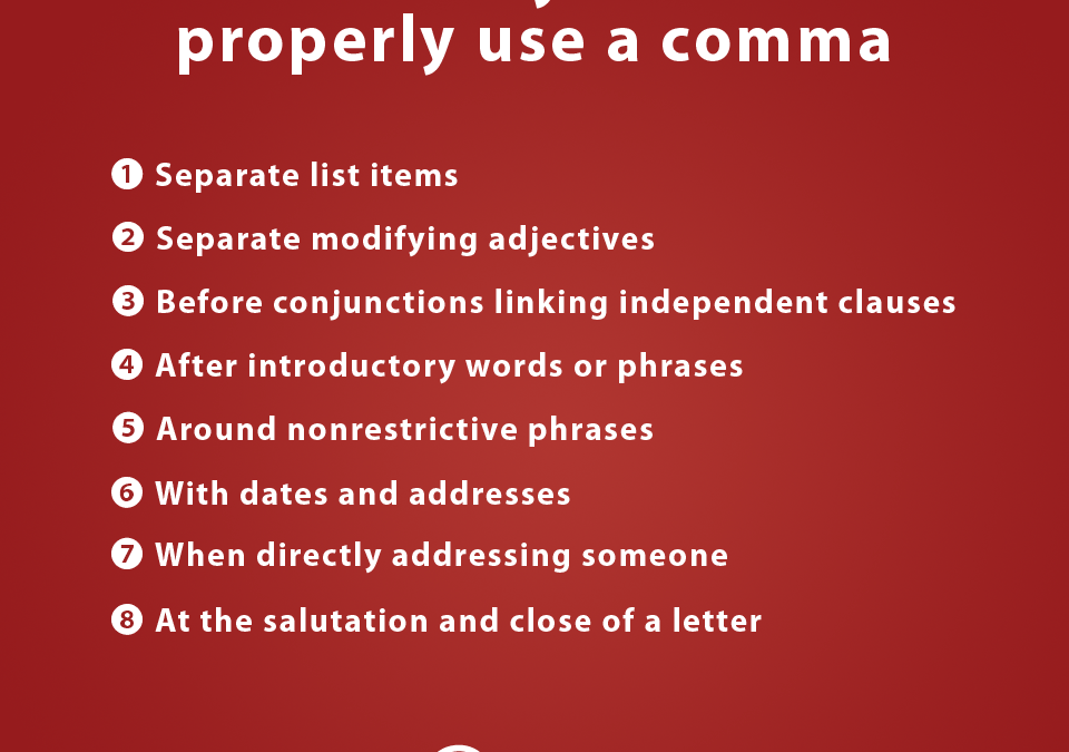 8 times when you should use a comma