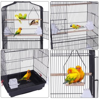 """59"""" Metal Bird Cage with Rolling Stand, Black"""