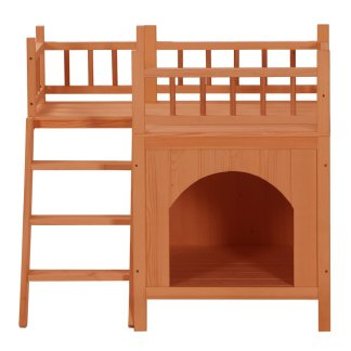 Wooden Cat Kennel With Balcony Orange Red