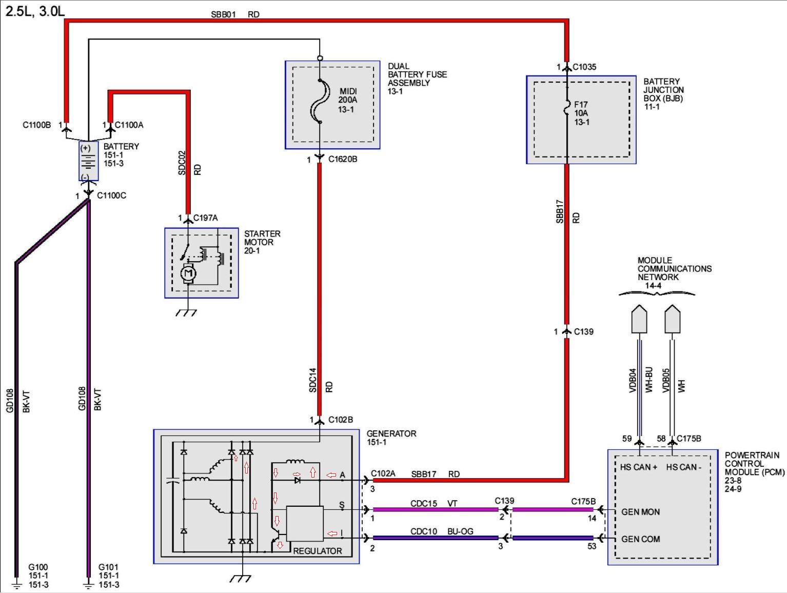 3 pin alternator wiring diagram marine voltmeter 2006 mazda fusion