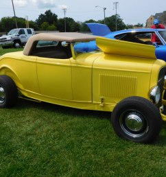 yellow 32 ford roadster with a gibbons fiberglass body and fiberglass frame it had a heidt s mustang ii front end the engine was a 283 cid chevy  [ 1600 x 1200 Pixel ]