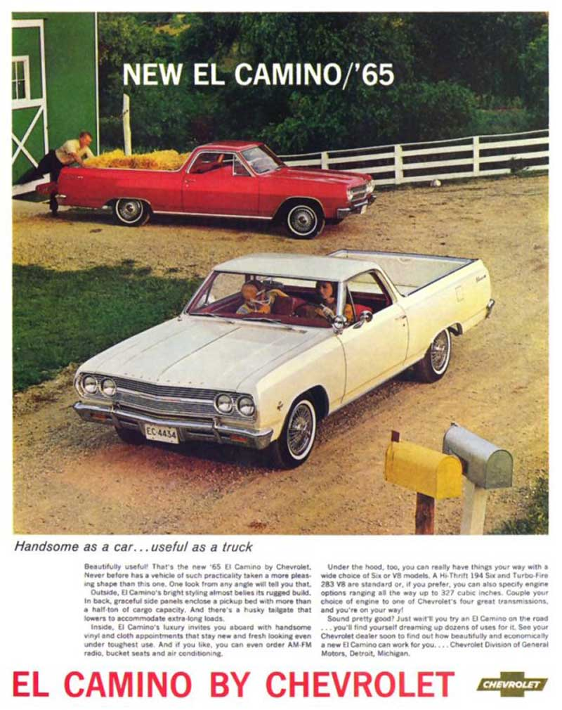 medium resolution of 1965 chevy el camino 2nd generation print brochure ad from the nice folks at