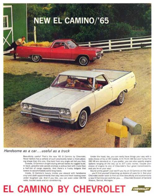 small resolution of 1965 chevy el camino 2nd generation print brochure ad from the nice folks at
