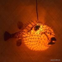 """Puffer Fish Lamp - Orange - Large - 14""""- 15"""" Approx, Tiki ..."""
