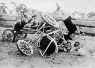 (GERMANY OUT) Auto polo Crash of two cars during an auto polo match in Fort Myers, Florida - 1928 - Photographer: Sennecke - Vintage property of ullstein bild (Photo by Robert Sennecke/ullstein bild via Getty Images)