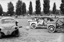 11th October 1956: Six players take part in a game of Motor Car Polo in Vincennes, leaning out of their customised Renault vehicles to scoop up the ball with lacrosse-style racquets. (Photo by P. F. Jentile/BIPs/Getty Images)