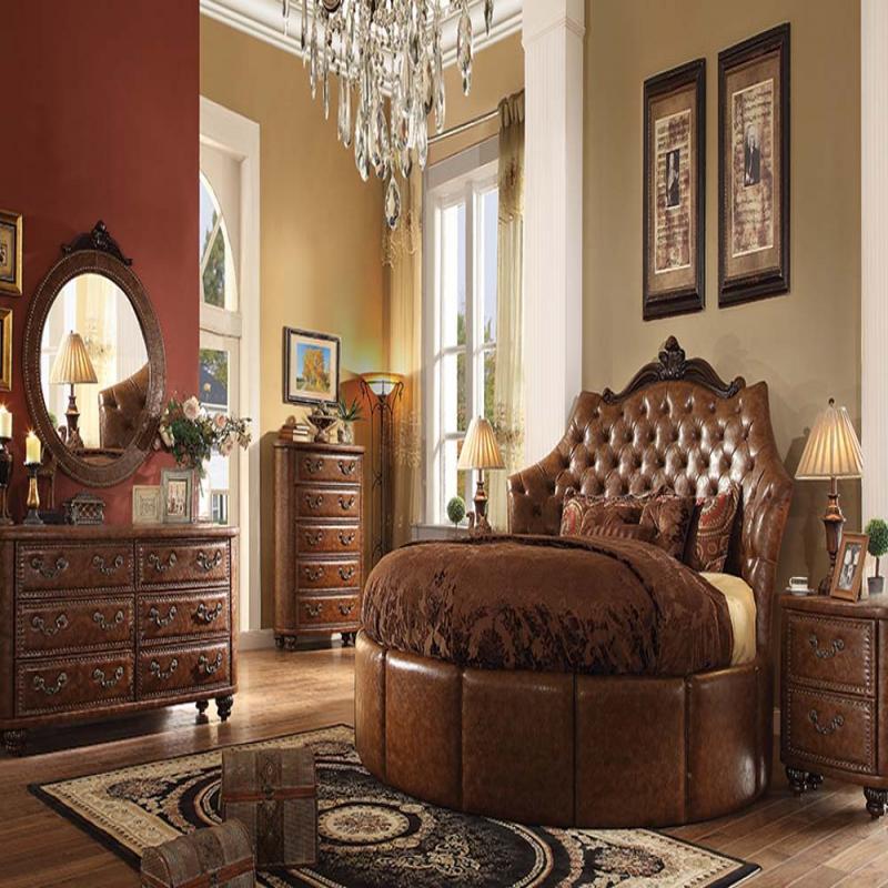 Formal Round Cherry Brown Bedroom Set Acme